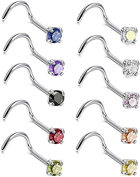 Studs Crook Body Jewelry Screw Surgical  Steel Nose Ring Stud Ring Piercing