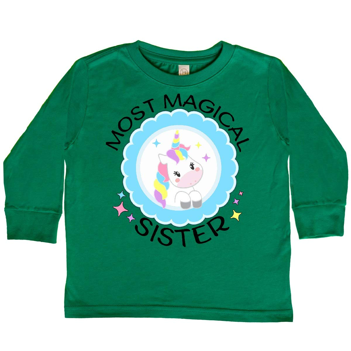 Cute Unicorn Badge Toddler Long Sleeve T-Shirt inktastic Most Magical Sister