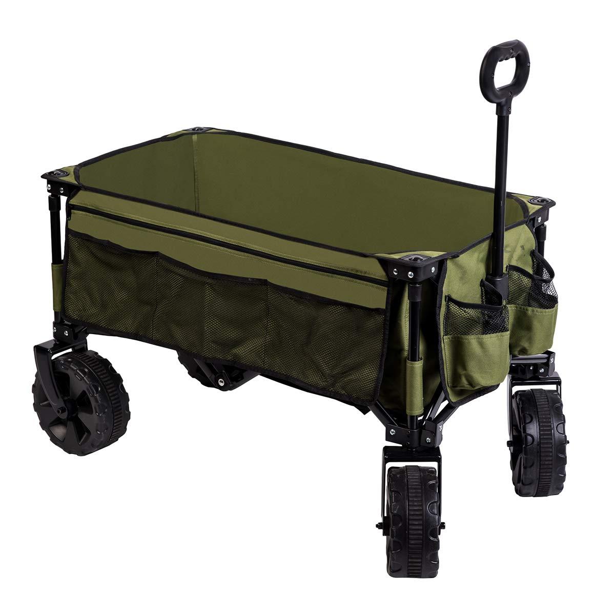 Timber Ridge Folding Camping Wagon/Cart - Collapsible Sturdy Steel Frame Garden/Beach Wagon/Cart Heavy Duty