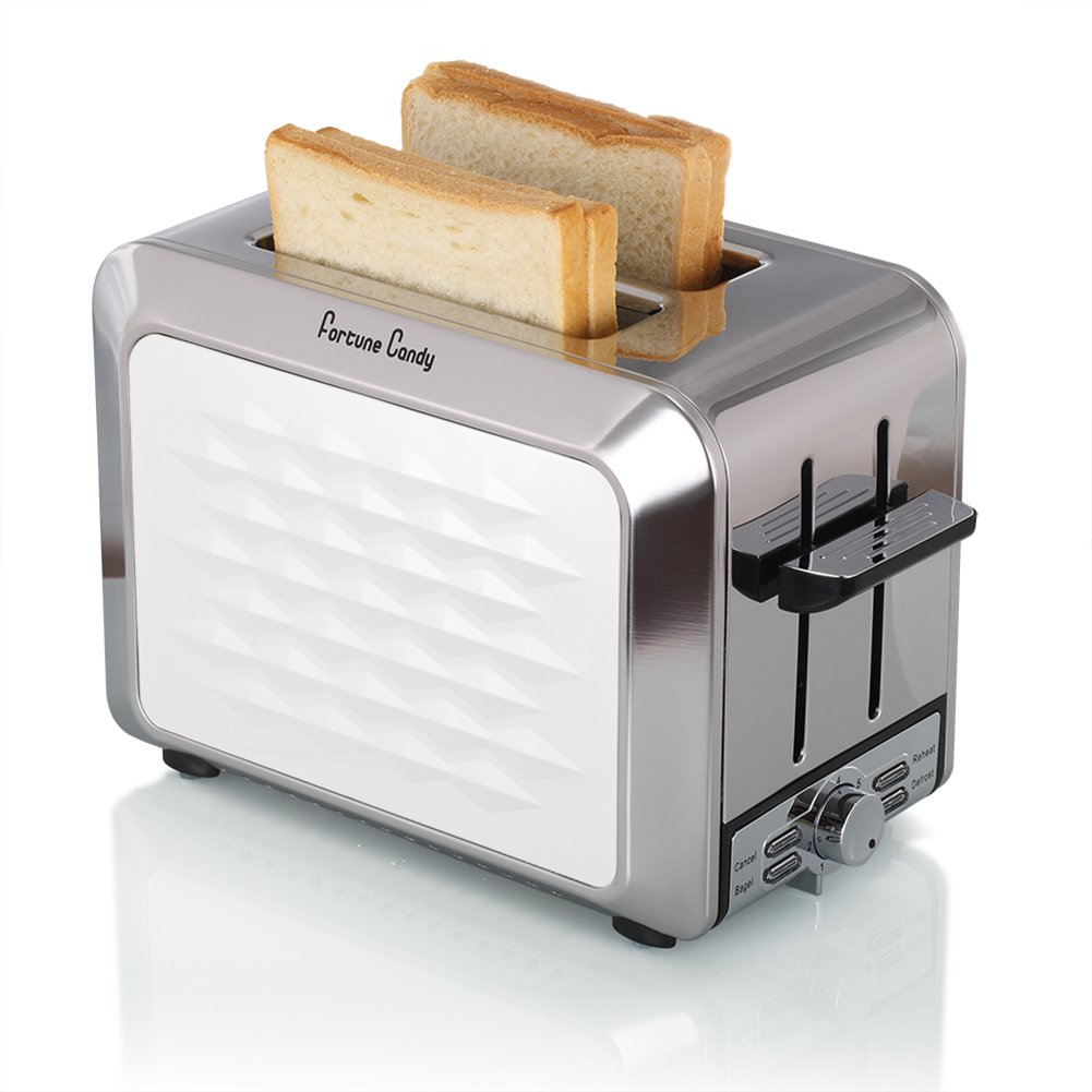 Fortune Candy Toaster 2 Slice Stainless Steel,Toaster for Bagels,Wide Slots Toaster with Removable Crumb Tray Black