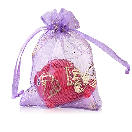 100 Pcs Bolsas de Organza Regalo, Caramelo, Joyería, Chocolate, Jalea para Decoración Del Banquete Boda Fiesta - 13x18 cm, Púrpura#C