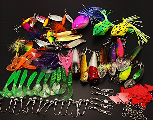 LotFancy-129-PCS-Fishing-Lures-Including-Rooster-Tail-Lures-Spinnerbait-Frog-Soft-Shrimp-Bait-Minnow-Inline-Spinner-Grub-Popper-Crankbaits-Spoon-Hard-Lures-Tackle-Box-More-Fishing-Gear-Kit