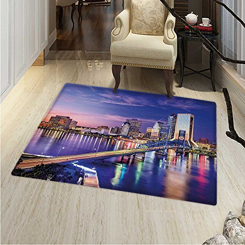 United States Rug Kid Carpet Jacksonville Florida Skyline Vibrant Night St. Johns River Scenic Home Decor Foor Carpe 3'x4' Royal Blue Pale Pink -