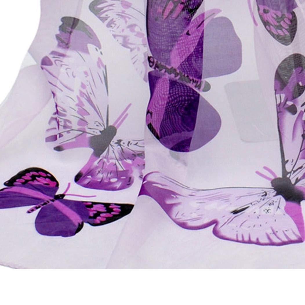 50cm Women Lady Chiffon Butterfly Print Neck Shawl Scarf Soft Long Scarves Wrap Stole,160