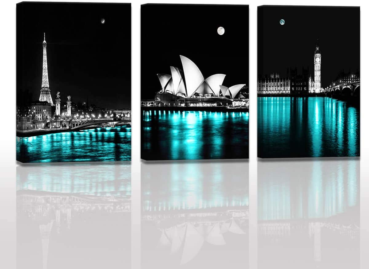 Amazon Com Paris Decor For Bedroom The Night View Of Paris Eiffel Tower London Big Ben Tower Sydney Opera House Black And White Teal Room Decor Gallery Wrapped Canvas Wall Art Set Cityscape Kitchen