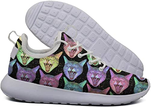 Neon Rainbow Kawaii Kitty Cat Galaxy Womens lightweight Athelitic Running shoes lace-up breathable fitness sneakers