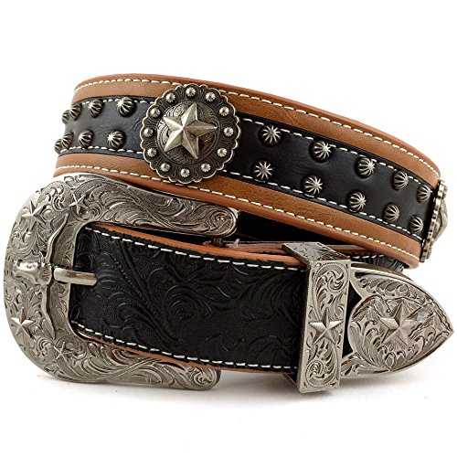 [Western Peak Men's Tooled Genuine Leather Round Star Concho Embossed Buckle Belt (L)] (Concho Western Leather)