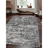 Rugsotic Carpets Machine Woven Heatset Polypropylene 8 x 10 Area Rug Silver Ivory M00051