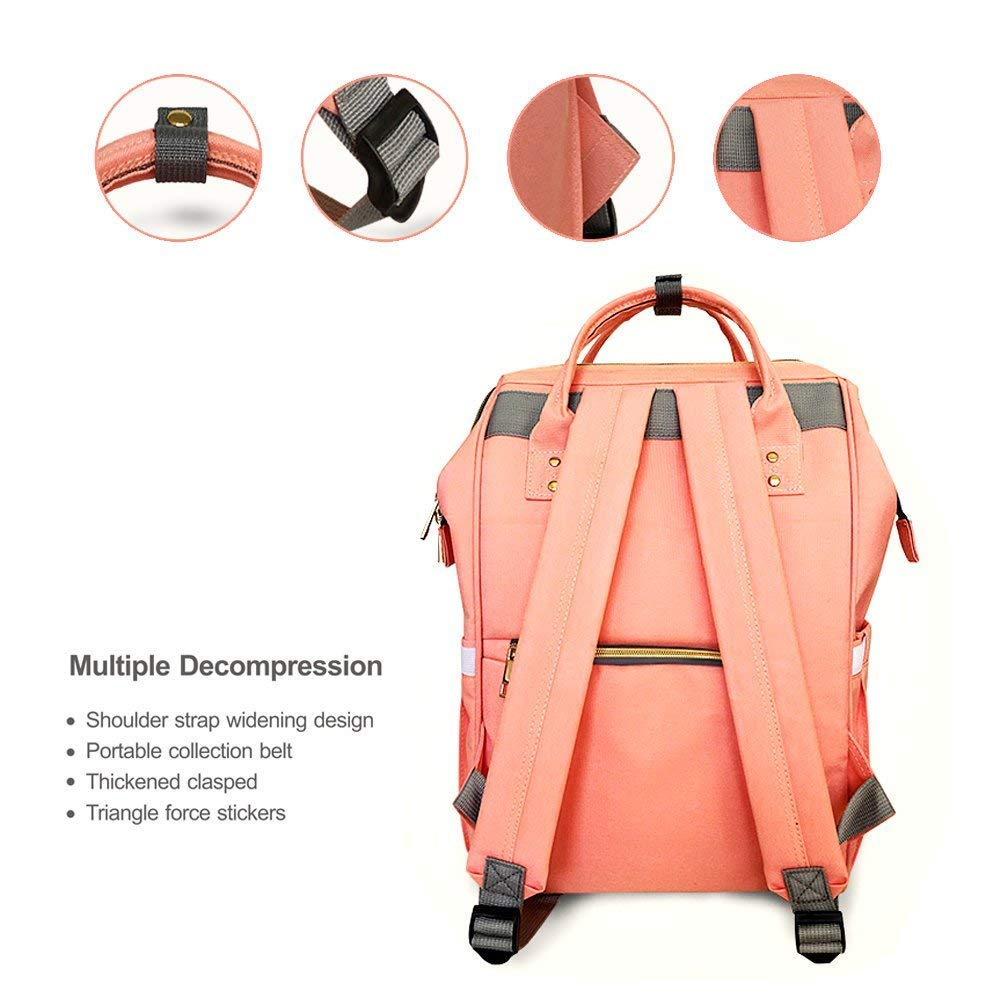 Gray Tiscen Diaper Bag Backpack Baby Changing Bag Rucksack Multi-Function Waterproof Travel Nappy Tote Bags for Mom and Dad with Large Capacity