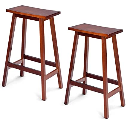 Super Amazon Com Fdinspiration 2Pcs Walnut 29 Wood Bar Stools Gmtry Best Dining Table And Chair Ideas Images Gmtryco