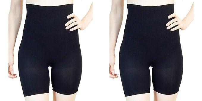 358486fb63c FIX-Shapewear Womens 2Pack Long Leg Seamless Firm Control Compression Shorts  Undies Black Black