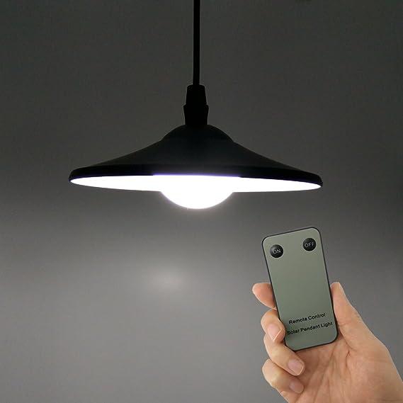 GAXmi Iluminación de Techo Solar Pequeña luz de Cobertizo Control Remoto Luces Colgantes con Cable de Tracción para Garaje Pequeño Casa de Juegos para ...