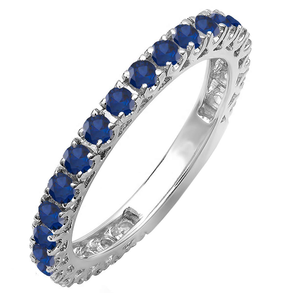 Dazzlingrock Collection 10K Round Blue Sapphire Eternity Sizeable Stackable Wedding Band, White Gold, Size 8.5