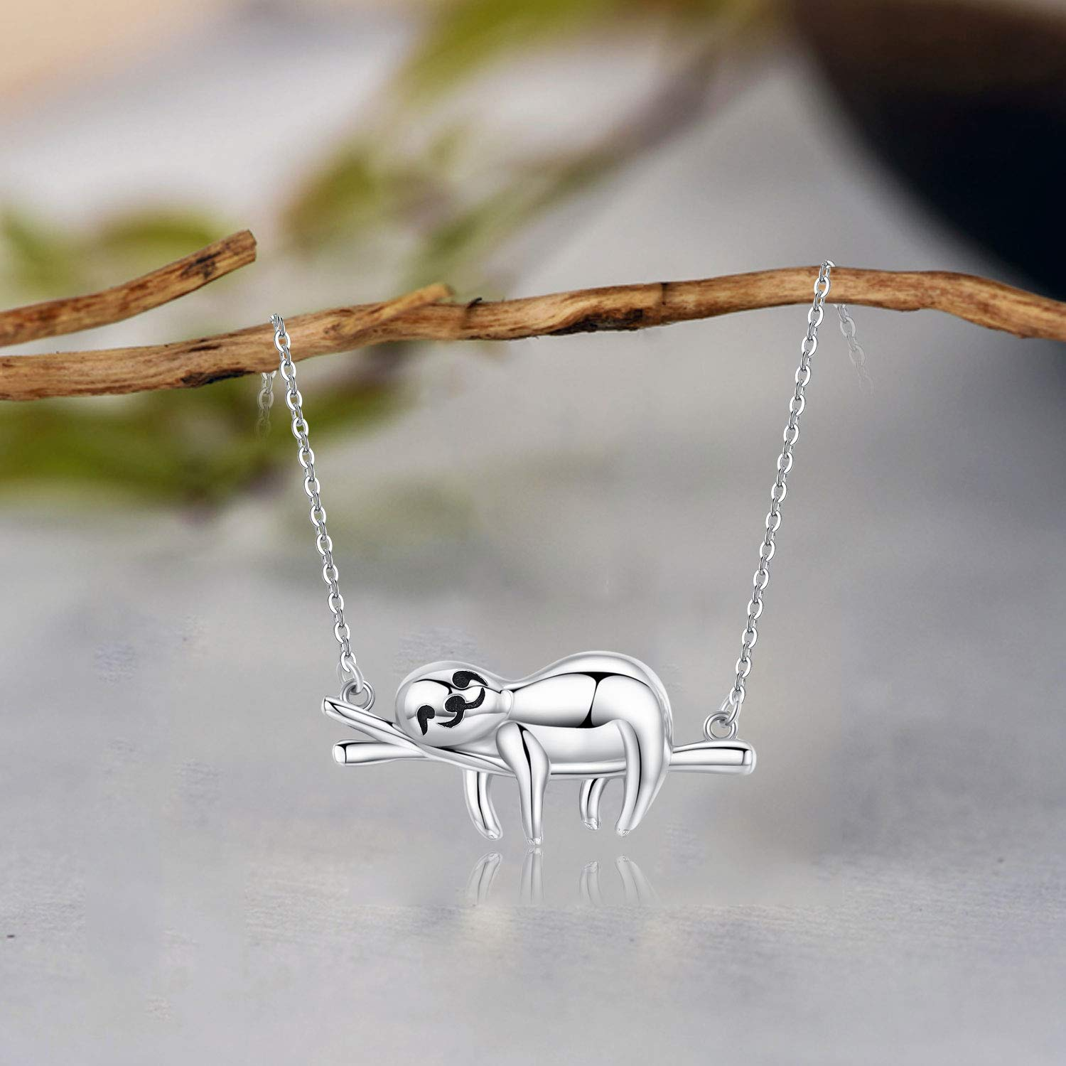 """Sloth Necklace Sterling Silver /""""Slow Down Be Happy/"""" Slider Sloths Stuffed Animal Pendant Jewelry Charm Gifts for Women"""