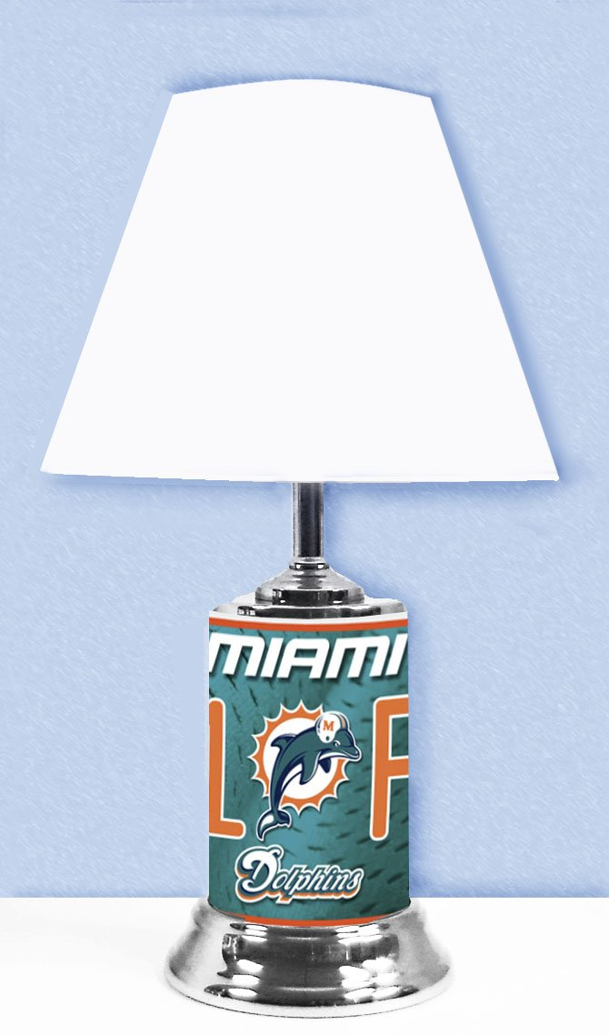 Miami Dolphins, Home decor Lamp, with #1 Fan wrap around design.