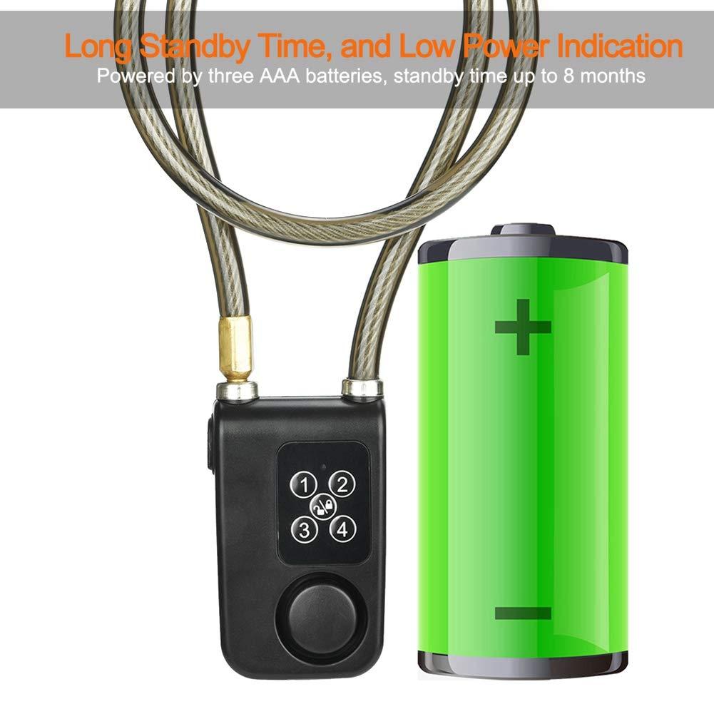 7 Batterien IP55 Wasserdicht und staubdicht Diebstahlsicher Fahrradschl/össer f/ür Innen und Au/ßen Oumij Bike Motorradschloss Sicherheit Stahlkabel mit Schlaufen Flexkabel 3 AAA Nr
