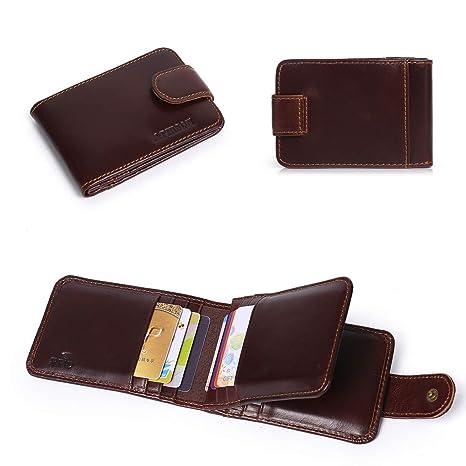 APHISONUK Cartera para Hombres RFID Bloqueo Seguridad Cuero Genuino Billetero con botón Monedero para Tarjeta de