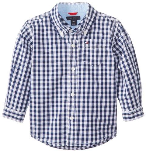 Tommy Hilfiger Baby Boys' Long Sleeve Baxter Shirt, Flag Blue, 12 (Baby Boy Gingham)