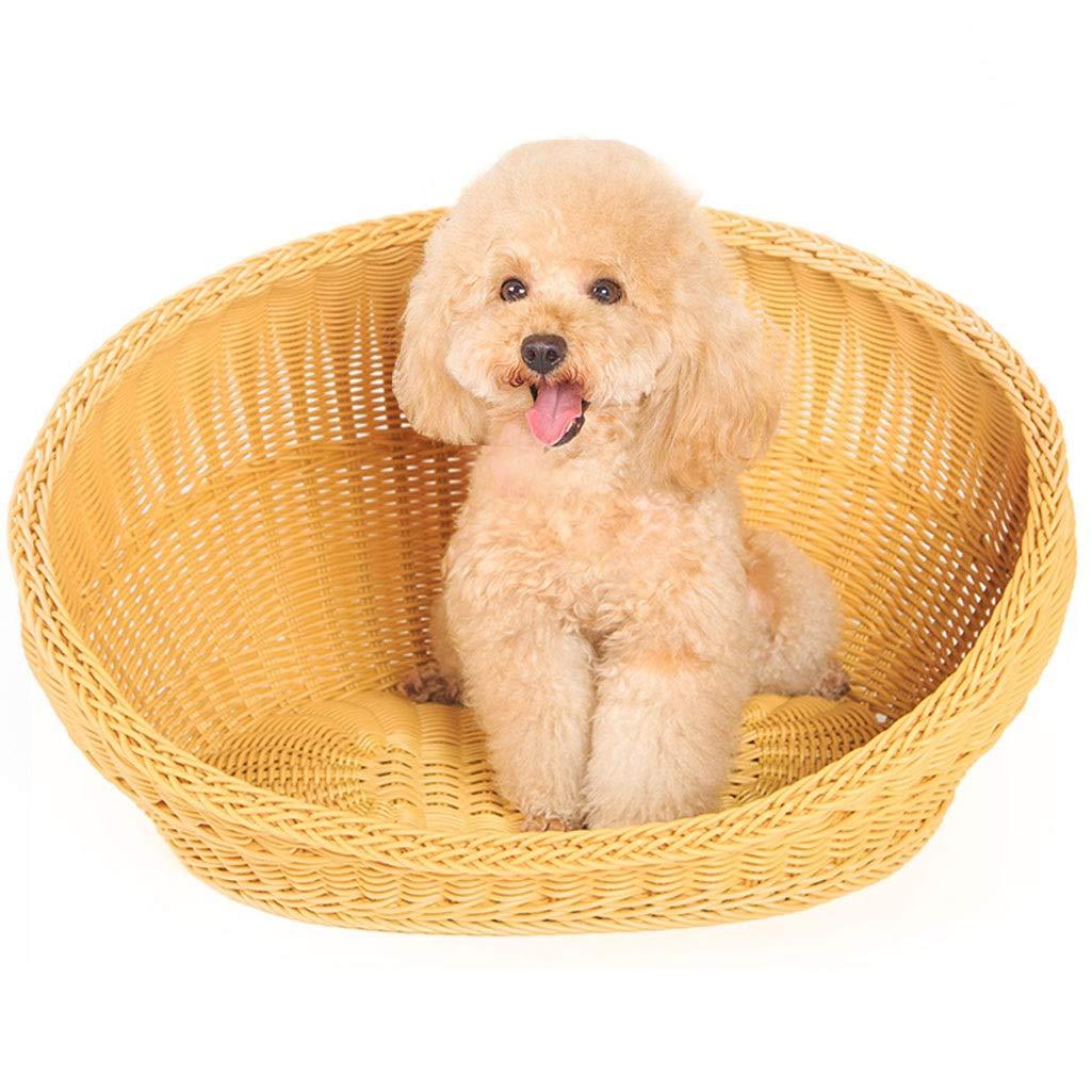 A 453433CM A 453433CM ZLX CHWO Pet Nest, Rattan Kennel Four Seasons Rattan Kennel Summer Dog Teddy Cat Litter Waterproof Bamboo Basket Pet Supplies Summer (color   A, Size   45  34  33CM)