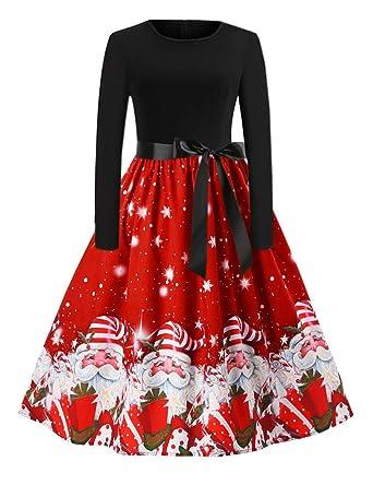 097224fd466 FeelinGirl Femme Robe Rouge Noel Robe de noël Fille Robe Pull de Noel Robe  de noël