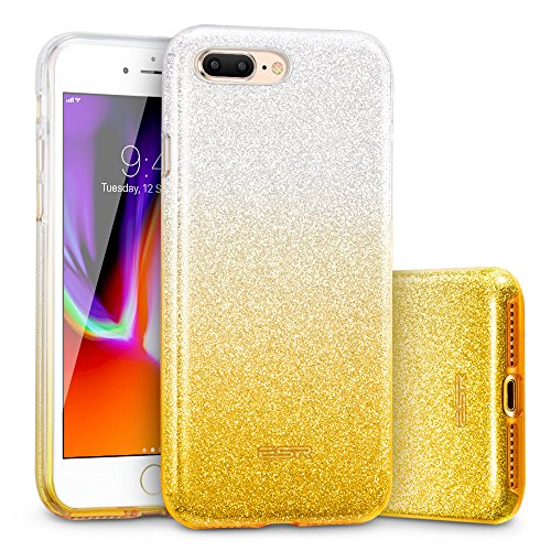ESR iPhone 8 Plus Case, iPhone 7 Plus Case,Glitter Sparkle Bling Case [Three Layer] for Girls Women [Supports Wireless Charging] for 5.5 iPhone 8 Plus/7 Plus(Ombre Gold)
