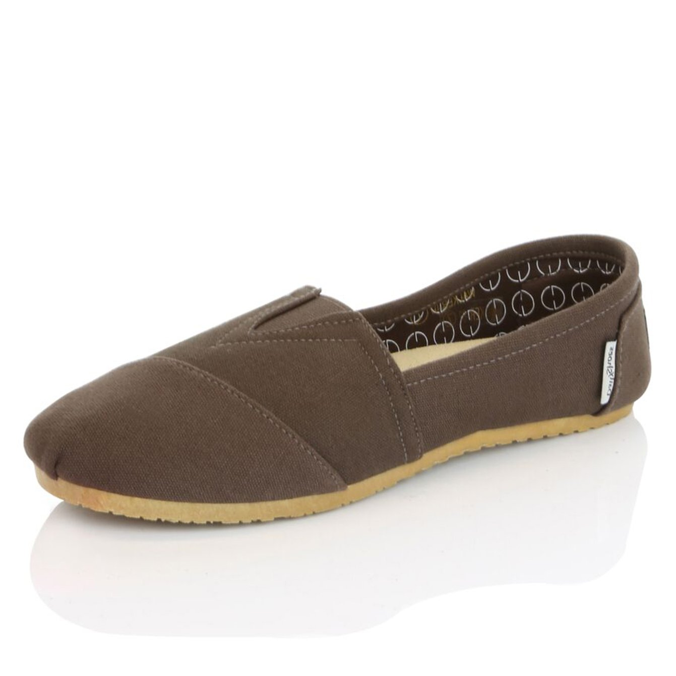 DailyShoes Women's Women Classic Flat Slip-On Comfort Loafer Sneaker Shoes with Raised Massage Surface Elastic Top Flats Shoe, Brown Linen, 8 B(M) US