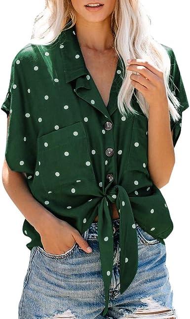 Blusa Mujer Fiesta Camisas de Manga Corta Camisa con Cuello en V Punto Nudo con Cuello Abotonado Camisa con Botones Tops para Mujeres Chica Joven LiNaoNa: Amazon.es: Ropa y accesorios
