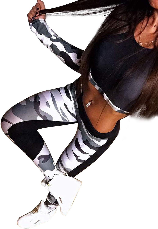 Donna Tuta da Ginnastica Due Pezzi Crop Top Maniche Lunghe Aderente e Pantaloni Vita Alta Abbigliamento Sportivo Inverno Estivo Stampa Floreale Tutine Intera Fitness Yoga Jogging Training Sportwear