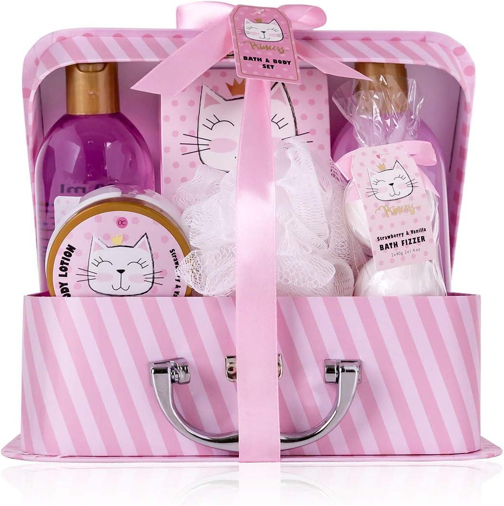 Accentra - Set de baño y ducha Princess Kitty para mujeres y niñas, con dulce fresa y vainilla, 7 piezas de regalo en un maletín de papel