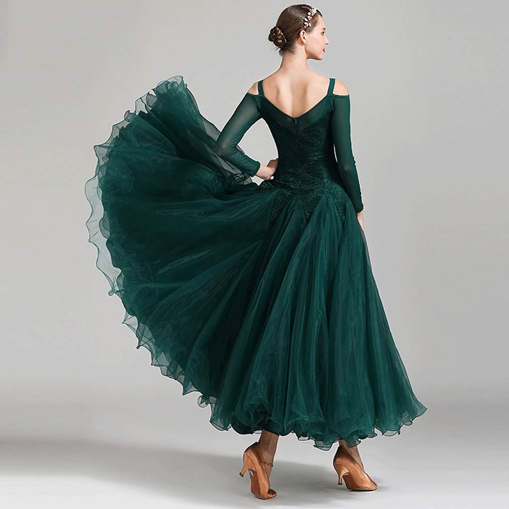 Elegante Traje De Pr/áctica De Baile Est/ándar Big Swing JTSYUXN Vestidos De Baile De Sal/ón Rendimiento De Las Mujeres De Encaje De Manga Larga Vestido De Vals El/ástico De Malla
