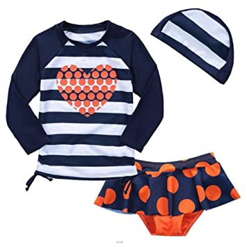 8b2f86a299 BINIYA Girls' Three Piece Rash Vest Long Sleeve Guard Bikini Sets Swimsuit  Swimwear UPF 50