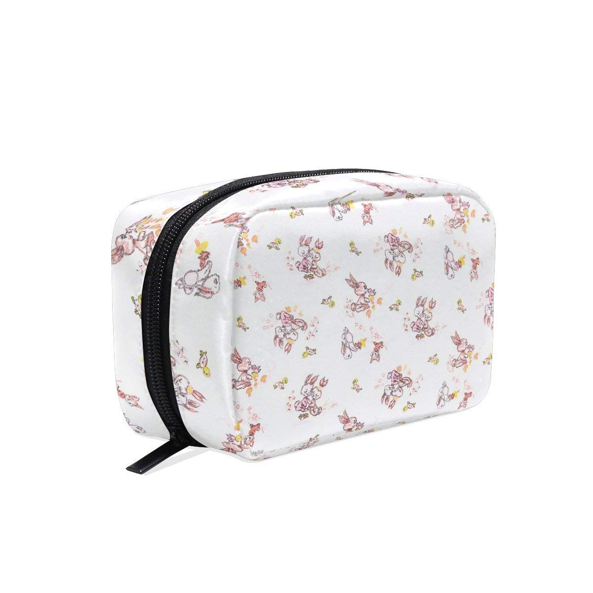 Bunny Love Makeup Bag Multi Compartment Pouch Storage Cosmetic Bags for Women Travel