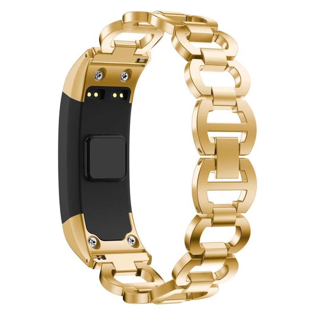 sukeq Luxuryステンレススチール交換用バンドメタルリンクストラップブレスレットアクセサリーリストバンドfor Garmin Vivosmart HRの女性  ゴールド B07CKHHZTJ