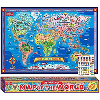 Amazon gb eye world map poster posters prints ts shure pictorial map of the world laminated poster with interactive stickers gumiabroncs Image collections
