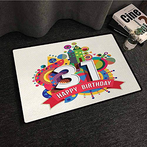 DILITECK Interior Door mat 31st Birthday Colorful Greeting Design for 31 Years Old Geometrical Artistic Fun Graphic Easy to Clean W24 xL35 Multicolor]()