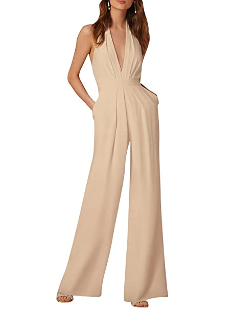 ZiXing Femme Combinaison Pantalon Longue Col V Profonde Dos Nu Jumpsuit  Rompers Abricot Small b82f00d9cd2a