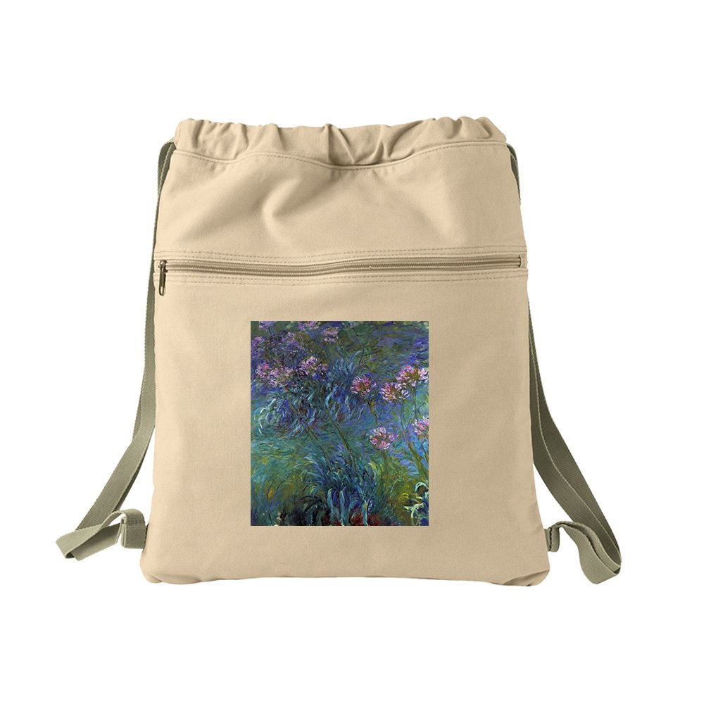 Jewelry Lilies #1 (Monet) Canvas Dyed Sack Backpack Bag