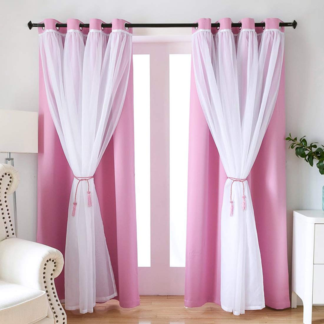 Double Layers Mix Match Elegance White Voile and Blackout Draperies Curtains, SearchI Solid Grommet Blackout Room Darkening Curtains Panels Drapes for Girls Bedroom, 42''W x 63''L, Solid Pink, 1 Panle by SearchI