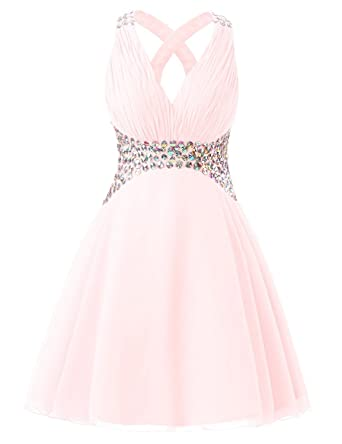 Icy Sun Womens V Neck Sequins Prom Dresses A Line Chiffon Short Homecoming Gowns IS016