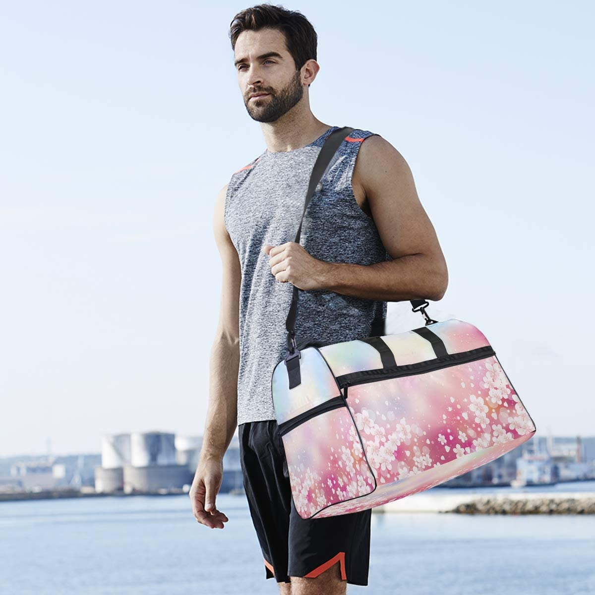 ALAZA Hipster Japanese Cherry Blossom Sports Gym Duffel Bag Travel Luggage Handbag Shoulder Bag with Shoes Compartment for Men Women