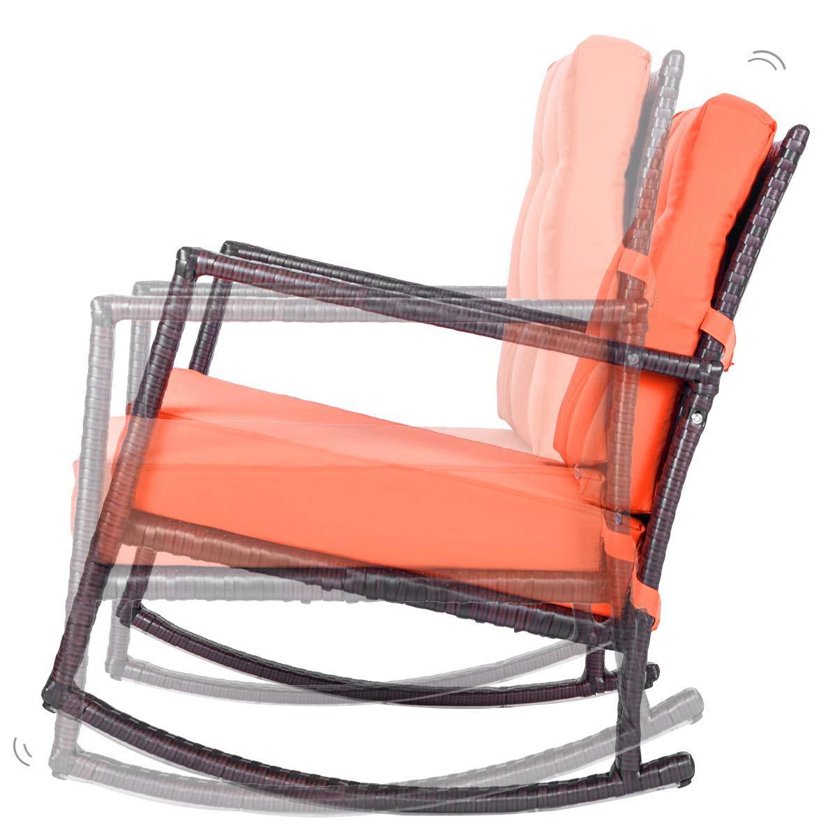 Astounding Amazon Com Patio Rattan Rocking Chair Knocbel Wicker Seat Machost Co Dining Chair Design Ideas Machostcouk