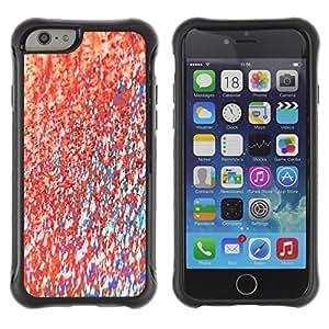 Híbridos estuche rígido plástico de protección con soporte para el Apple iPhone 6 (4.7) - teal paint texture pink abstract