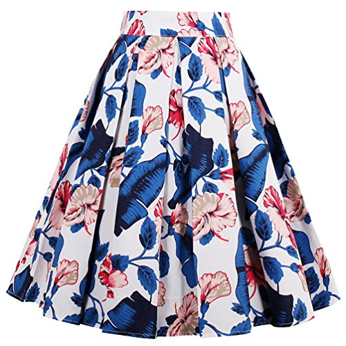 Dressever Women's Vintage A-line Printed Pleated Flared Midi Skirts Blue Leaves 3X-Large