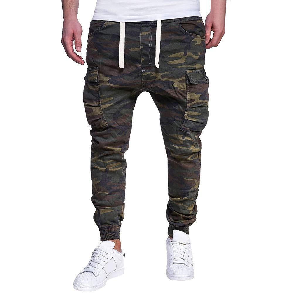 JiaMeng Deporte Jogging Pantalones CCamuflaje Deportivo Correas de sujeción Pantalones de chándal Sueltos Ocasionales Pantalón con cordón Ajustable
