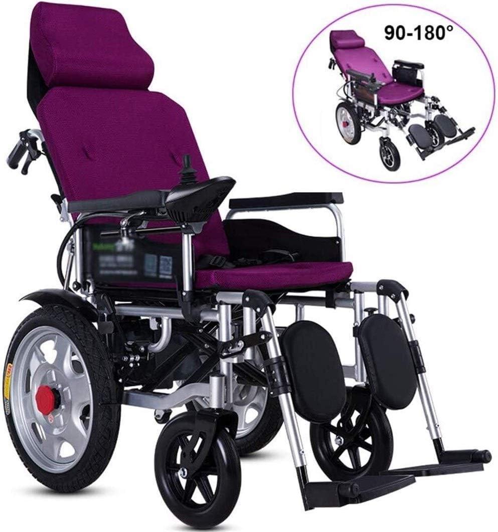 BXZ Silla de ruedas Silla de ruedas eléctrica de servicio pesado con reposacabezas, silla portátil plegable y ligera, ancho del asiento 45 cm, respaldo ajustable y ángulo del pedal, joystick de 360 