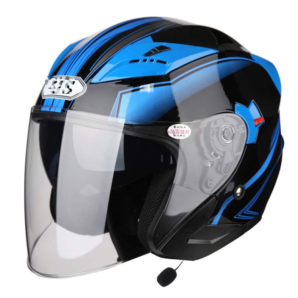 オートバイのヘルメットの男性と女性の四季電気自動車半分覆われたバッテリー車半分ヘルメット人格ヘルメット青toothフレンドリー,B-XXL B XX-Large