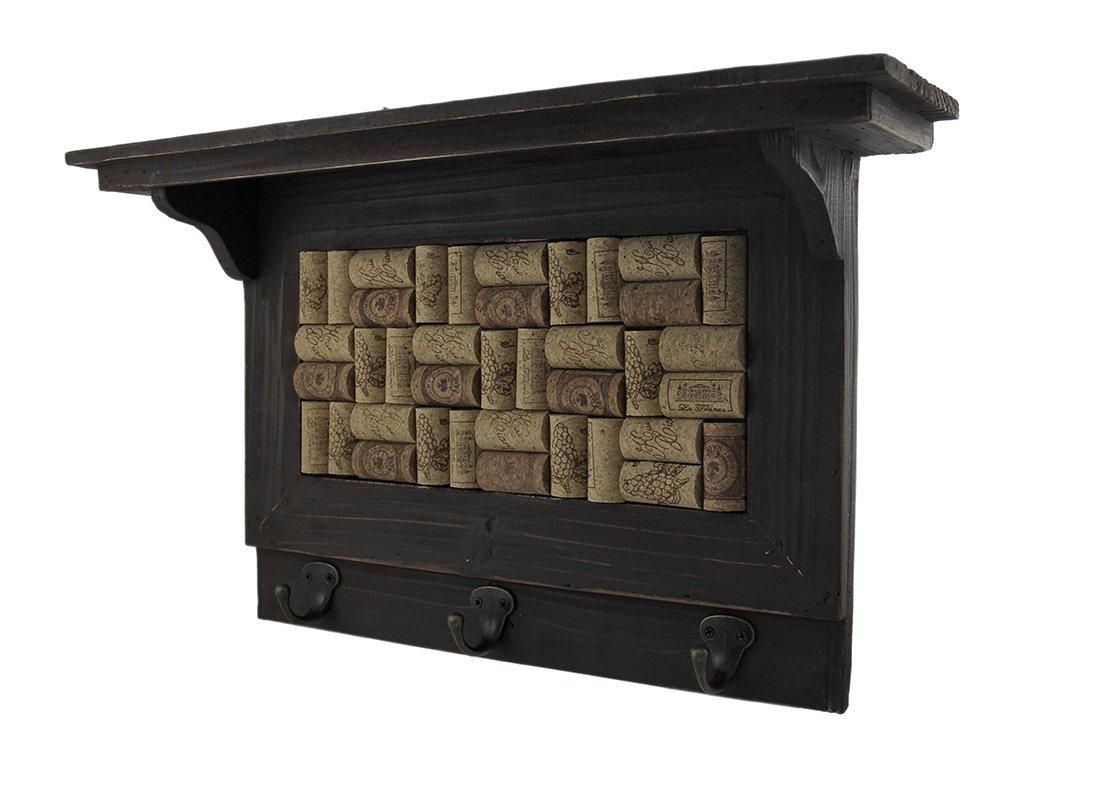 Zeckos Wood Decorative Wall Hooks Wooden Wine Cork Board Wall Hook Shelf 19.5 X 11.75 X 5 Inches Brown by Zeckos (Image #2)
