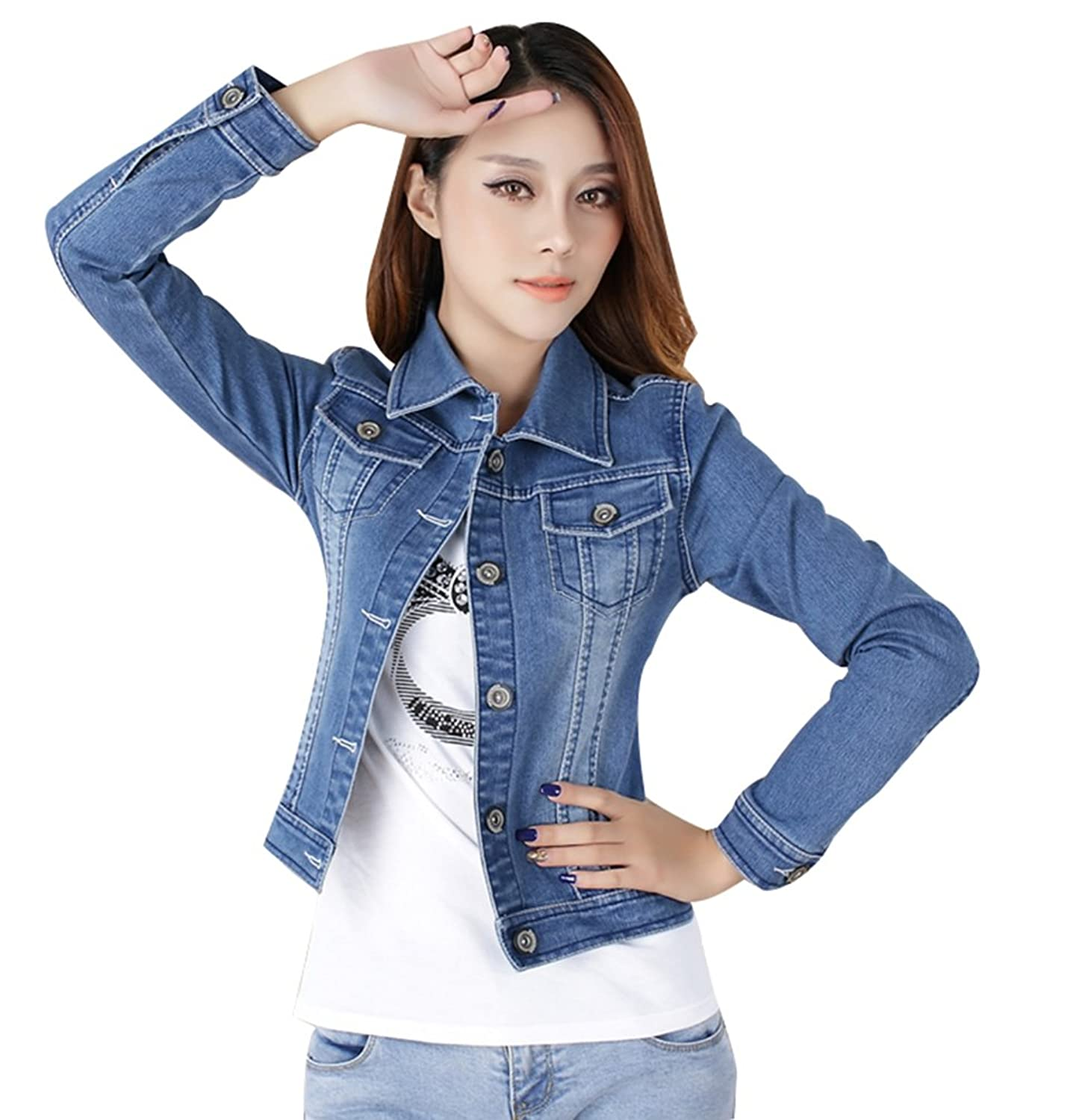 Women Ladies Girls Slim Fitted Button up Long Sleeve Denim Blue ...