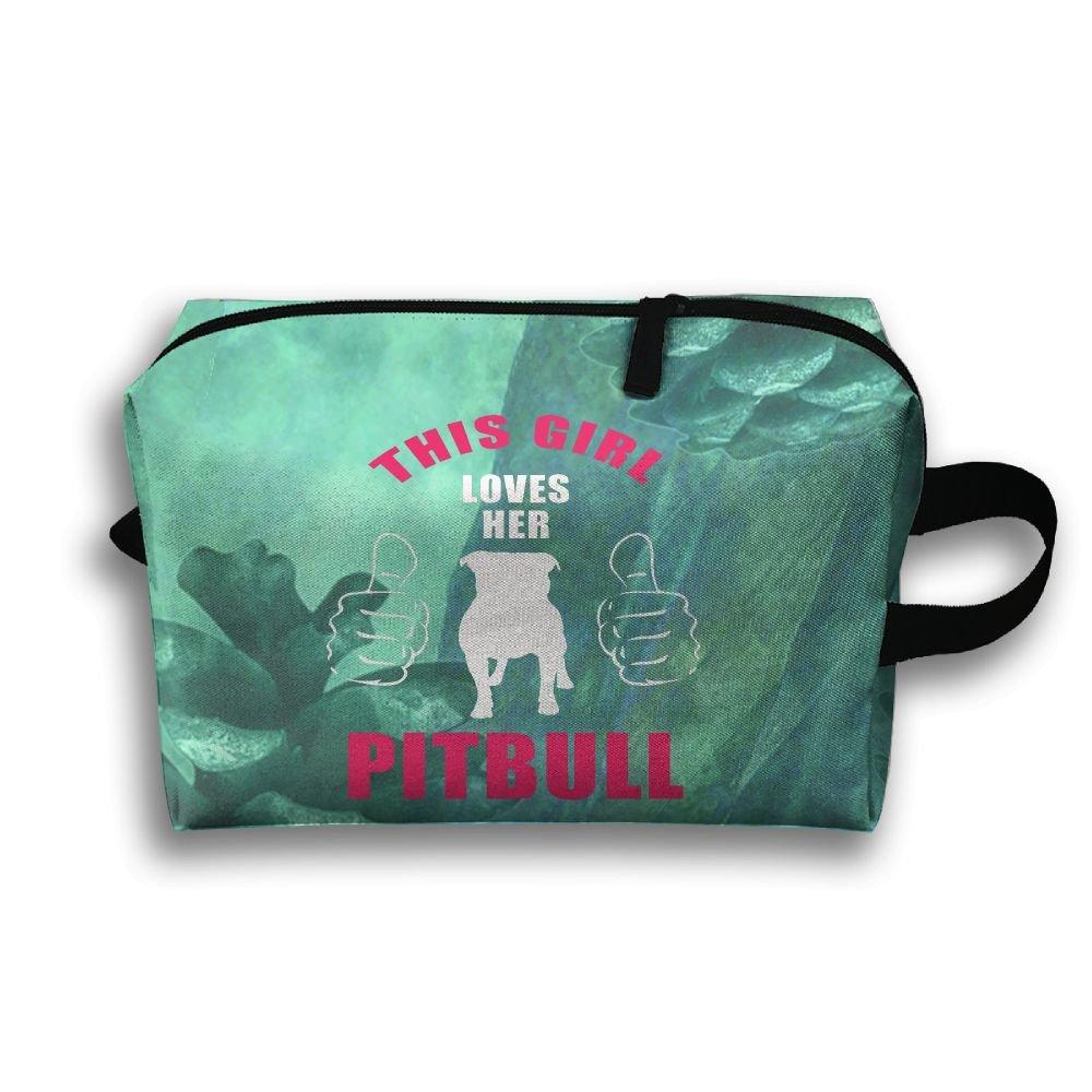 This Girl Loves Her Pit Bull Travel Bag Multifunction Portable Toiletry Bag Organizer Storage