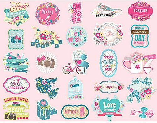 Digital Scrapbook Ribbon (Woodmin Ephemera Pack Vintage Scrapbook Supplies Stickers Die-Cut Paper Pack Note and Tag Die cuts (25 Pieces, Assorted Colors SD017))